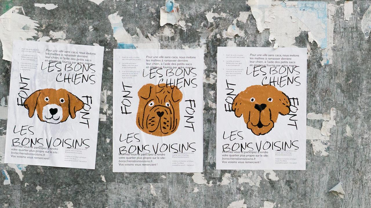 Studio Fire Work, Les bons chiens font les bons voisins, affiches à Ivry-sur-Seine