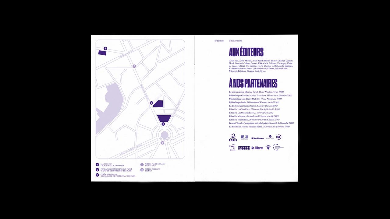 Studio Fire Work, projet festival Paris Polar, mairie du 13e arrondissement de Paris, programme