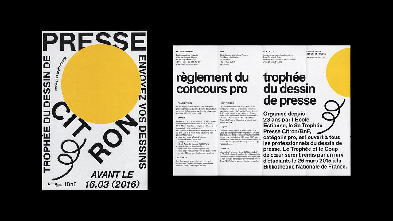 Studio Fire Work, Festival presse Citron, école Estienne, partenariat Bibliothèque Nationale de France, Affiches et programme